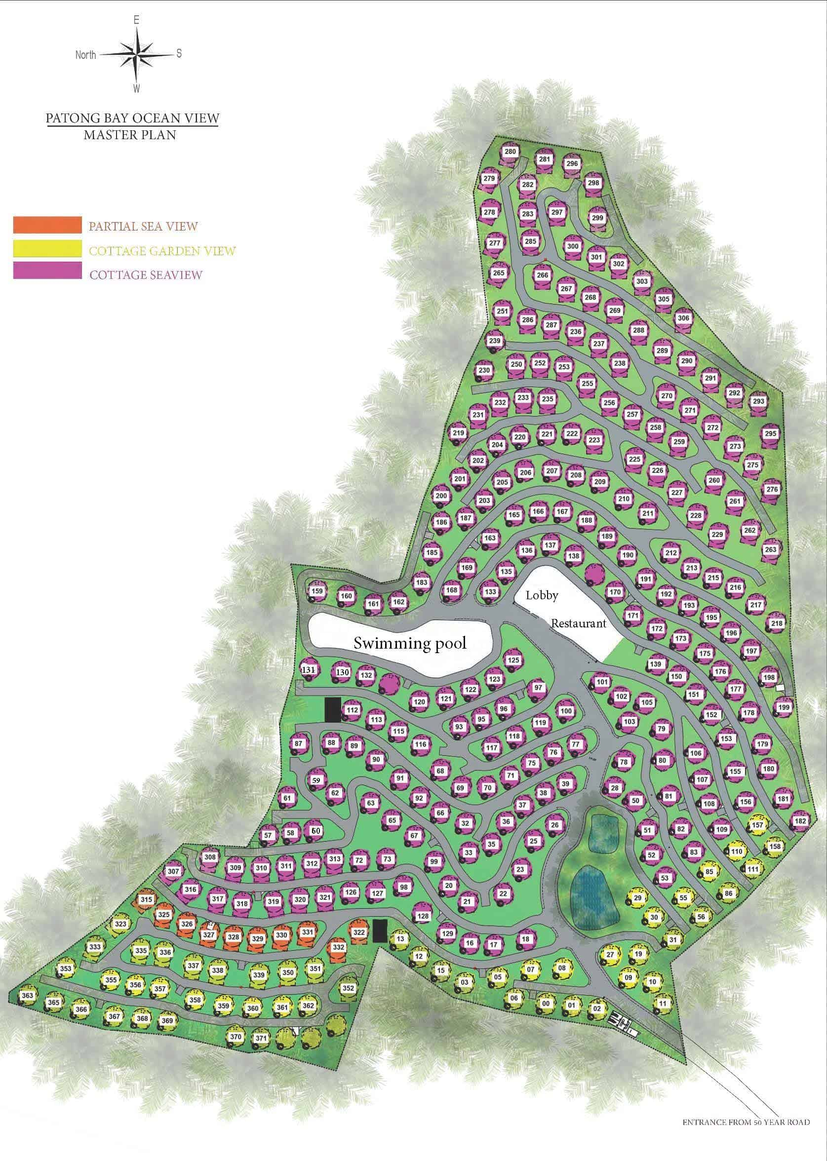 Patong Bay Ocean View Cottage Masterplan Unit Numbers